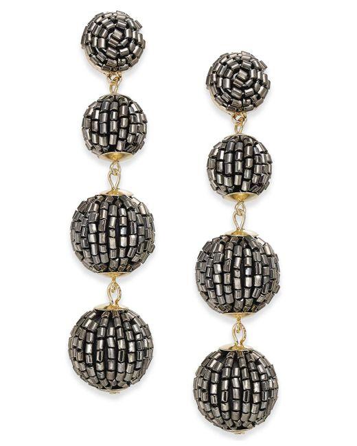 INC International Concepts - Metallic Gold-tone Beaded Pom Pom Drop Earrings - Lyst