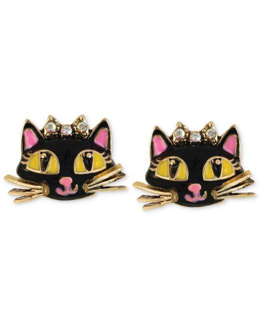 Betsey Johnson - Metallic Antique Gold-tone Cat Stud Earrings - Lyst