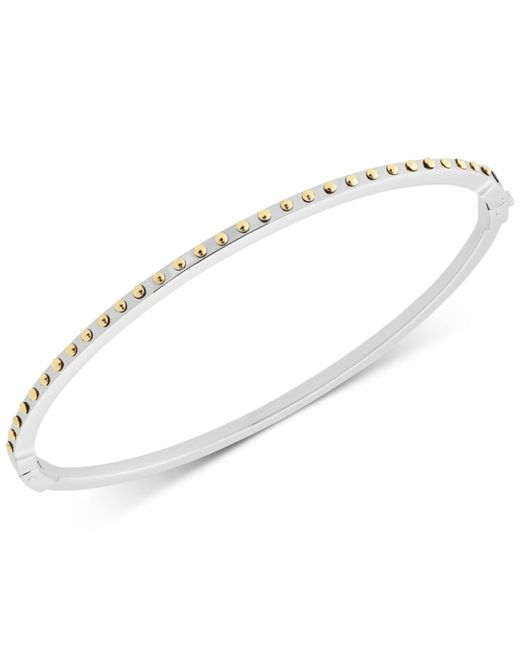 Michael Kors - Metallic Two-tone Hinged Skinny Bangle Bracelet - Lyst