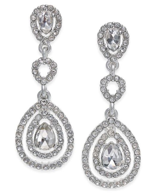 Charter Club - Metallic Gold-tone Crystal And Pavé Orbital Drop Earrings, - Lyst
