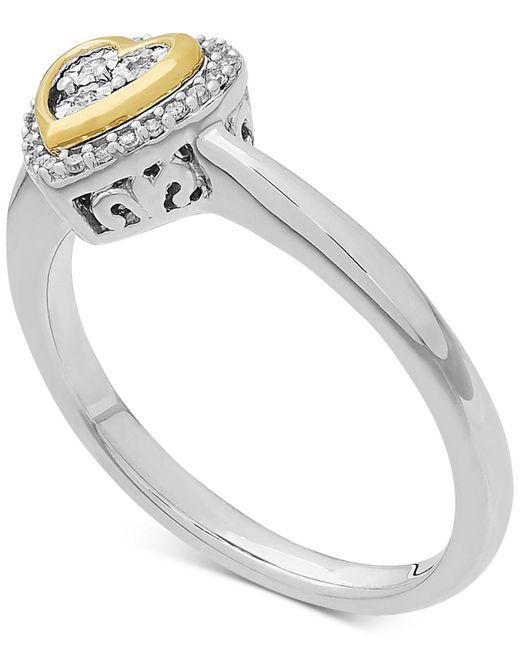 Macy's - Metallic Diamond (1/10 Ct. T.w.) Heart Ring In 14k Gold Over Sterling Silver - Lyst