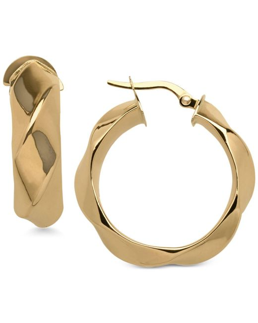 Macy's - Metallic Round Twist Hoop Earrings In 14k Gold - Lyst