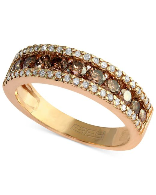 Effy Collection | Metallic Brown And White Diamond Three-row Ring (7/8 Ct. T.w.) In 14k Gold | Lyst