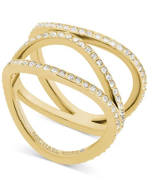 Michael Kors | Metallic Cubic Zirconia Wavy Layers Ring | Lyst