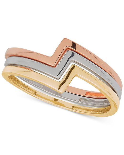 Macy's - Metallic Tricolor 3-pc. Set Geometric Stack Rings In 10k Gold, White Gold & Rose Gold - Lyst