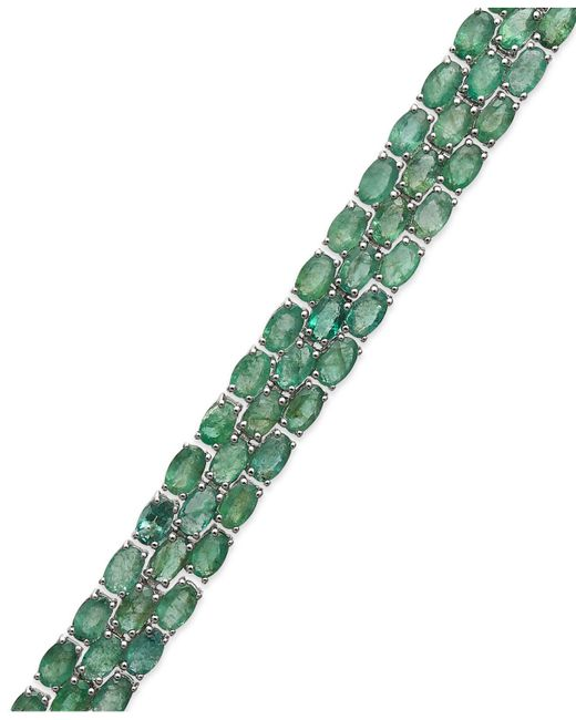 Macy's - Green Emerald Three-row Bracelet In Sterling Silver (25 Ct. T.w.) - Lyst