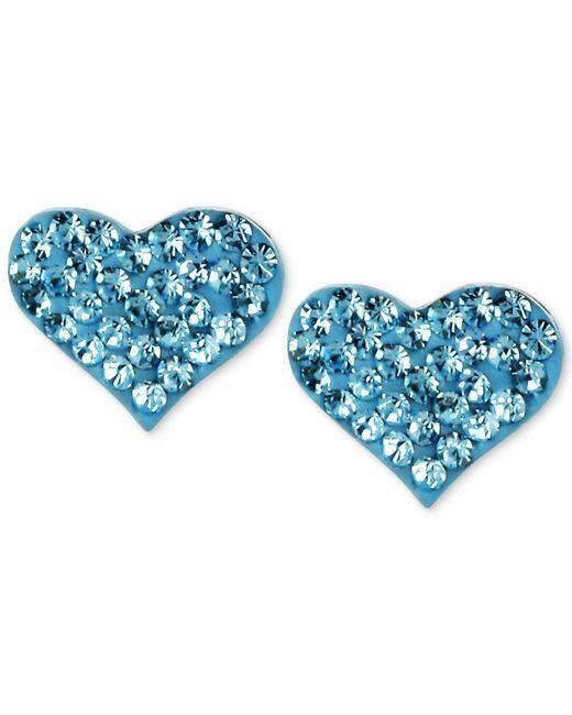 Betsey Johnson - Metallic Silver-tone Heart Blue Crystal Stud Earrings - Lyst