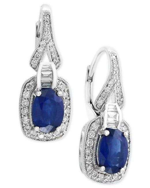 Effy Collection - Blue Sapphire (1-9/10 Ct. T.w.) And Diamond (3/8 Ct. T.w.) Drop Earrings In 14k White Gold - Lyst