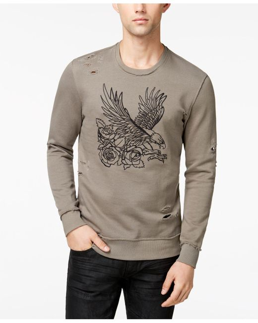 INC International Concepts - Gray Men's Embroidered-eagle Destroyed Sweatshirt for Men - Lyst