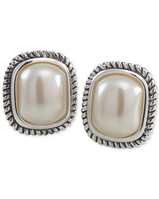 Carolee - Natural Silver-tone Large Imitation Pearl Stud Earrings - Lyst