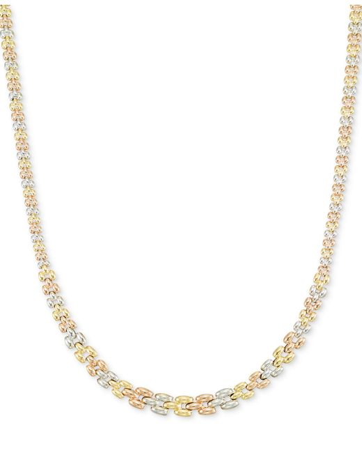 Macy's | Metallic Tri-tone Graduated Link Necklace In 14k Tri-color Gold | Lyst