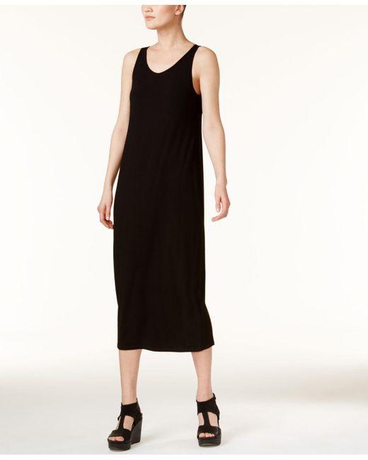 Eileen Fisher Black Sleeveless Scoop-neck Maxi Dress