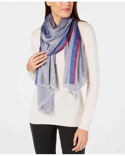 Calvin Klein - Blue Stripe-border Chambray Scarf - Lyst
