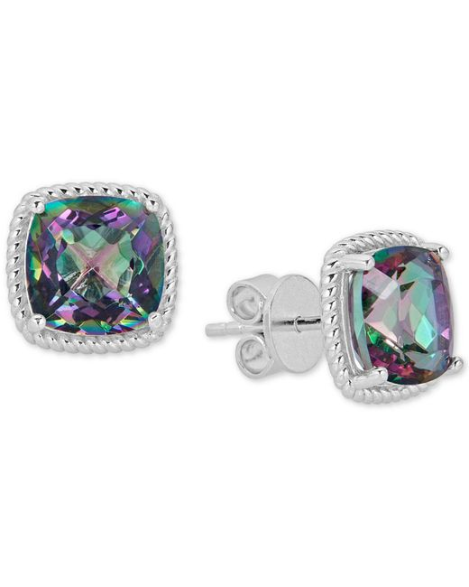 Macy's - Metallic Mystic Topaz Rope-framed Stud Earrings (8 Ct. T.w.) In Sterling Silver - Lyst