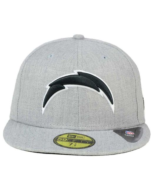 6ddf4139dfc4a ... KTZ - Gray San Diego Chargers Heather Black White 59fifty Cap for Men -  Lyst ...