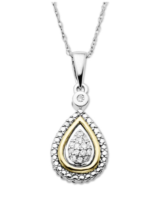 Macy's - Metallic 14k Gold And Sterling Silver Necklace, Diamond Accent Teardrop Pendant - Lyst