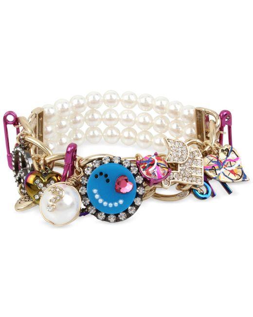 Betsey Johnson | Multi-tone Multicolor Crystal & Imitation Pearl Large Charm Stretch Bracelet | Lyst