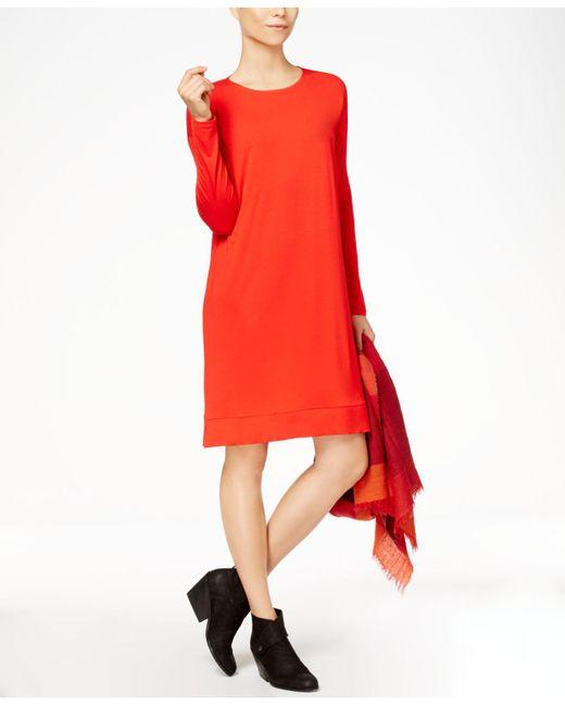 Eileen Fisher - Red Stretch Jersey Surplice Dress - Lyst