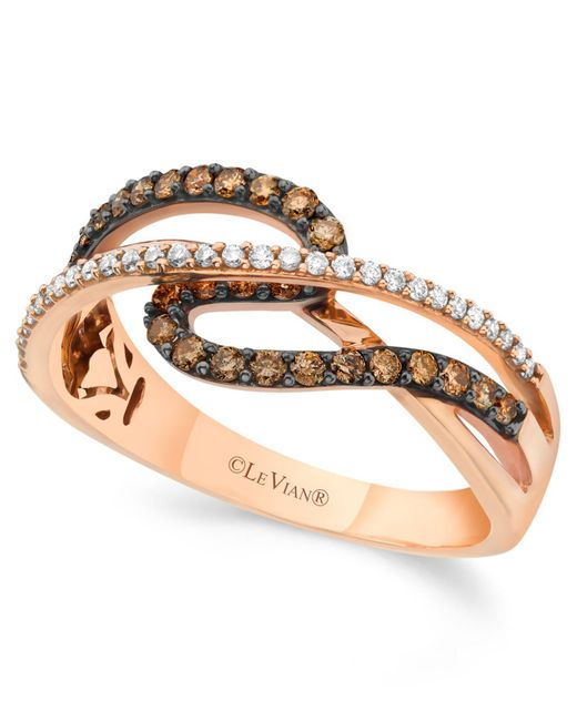 Le Vian - Brown Chocolate And White Diamond (3/8 Ct. T.w.) Ring In 14k Rose Gold - Lyst