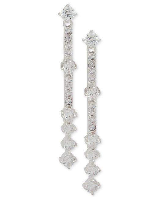 Anne Klein - Metallic Rose Gold-tone Crystal Linear Drop Earrings - Lyst