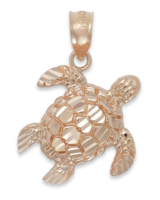 Macy's - Pink Diamond-cut Turtle Charm In 14k Rose Gold - Lyst