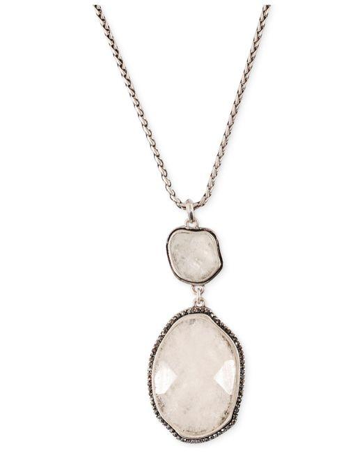 Lucky Brand - Metallic Silver-tone Organic Stone Pendant Necklace - Lyst