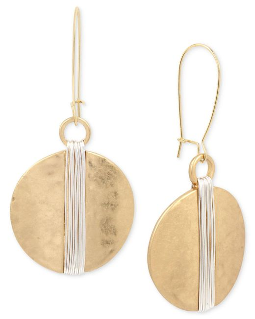 Robert Lee Morris - Multicolor Two-tone Wire Wrapped Hammered Disc Drop Earrings - Lyst