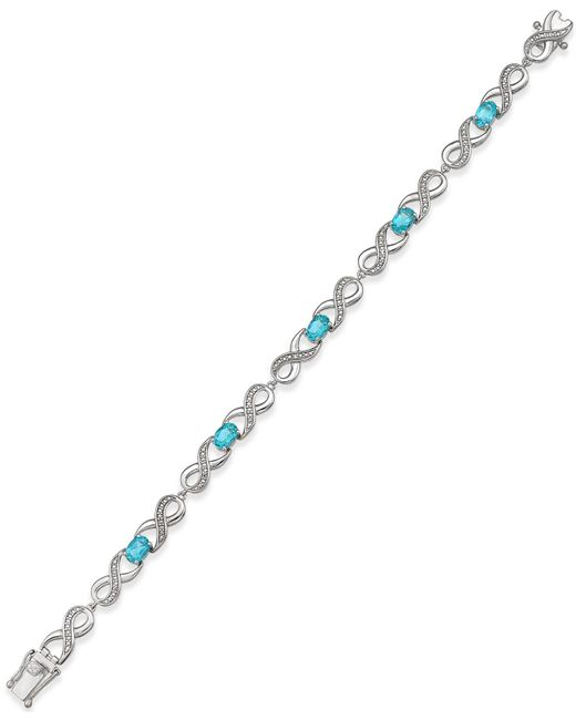Macy's | Metallic Gemstone (2-1/2 Ct. T.w.) And Diamond Accent Infinity Bracelet In Sterling Silver | Lyst