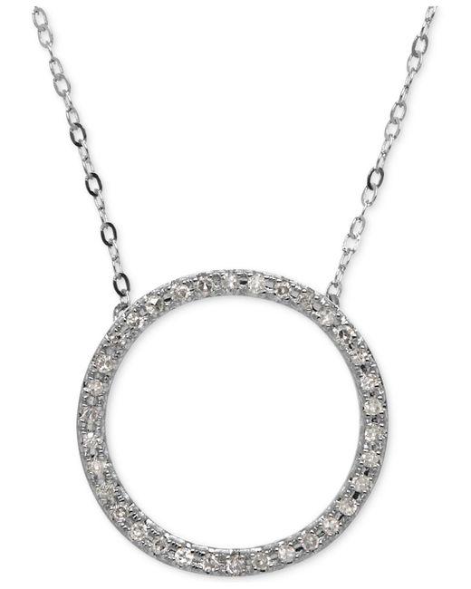 Macy's - Metallic Diamond Circle Pendant Necklace (1/10 Ct. T.w.) In 14k White Gold - Lyst