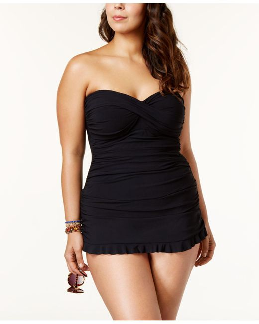 Gottex - Black Plus Size Ruched Ruffle-hem Swimdress - Lyst