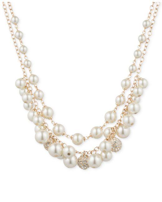 Anne Klein | Metallic Gold-tone Pavé Orb & Imitation Pearl Double-row Shaky Necklace | Lyst