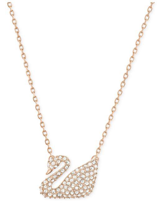 Swarovski | Metallic Gold-tone Crystal Swan Pendant Necklace | Lyst