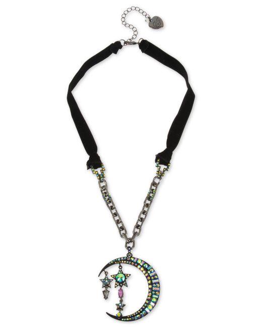 "Betsey Johnson - Black Hematite-tone Crystal Moon & Stars Velvet Ribbon Pendant Necklace, 20"" + 3"" Extender - Lyst"