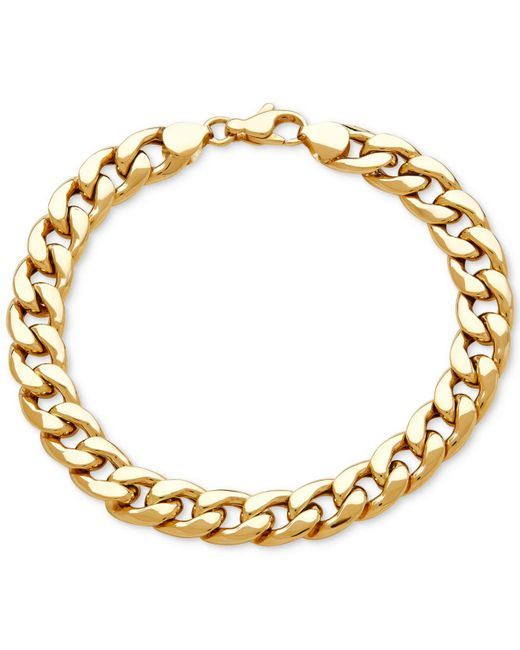 Macy's - Metallic Men's Heavy Curb Link Bracelet In 10k Gold - Lyst