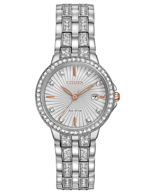 Citizen - Gray Women's Eco-drive Crystal Accent Stainless Steel Bracelet Watch 28mm Ew2340-58a - Lyst