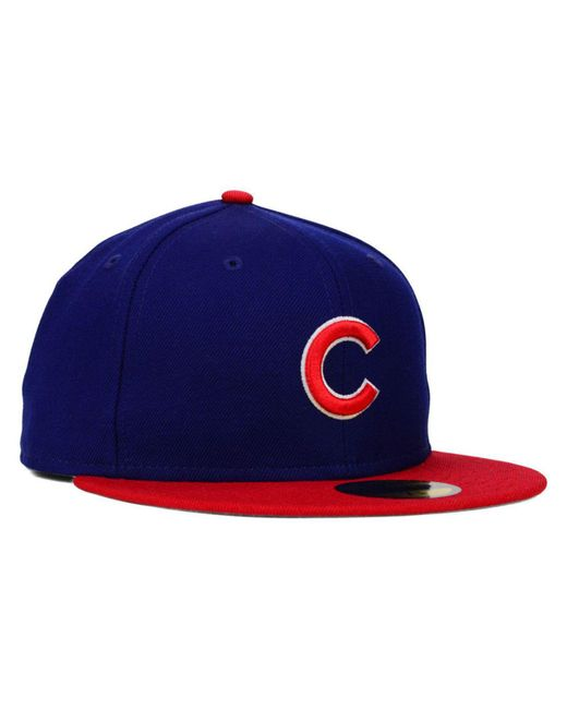 761c072c343 ... KTZ - Red Chicago Cubs Mlb Cooperstown 59fifty Cap for Men - Lyst ...