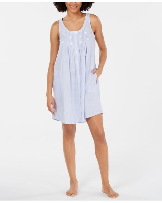 Miss Elaine Blue Embroidered Tuck-front Cotton Nightgown
