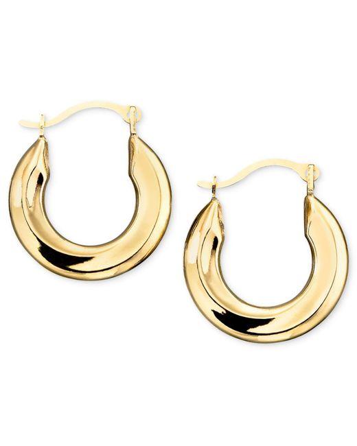 Macy's Metallic Small Polished Tube Hoop Earrings In 10k Gold