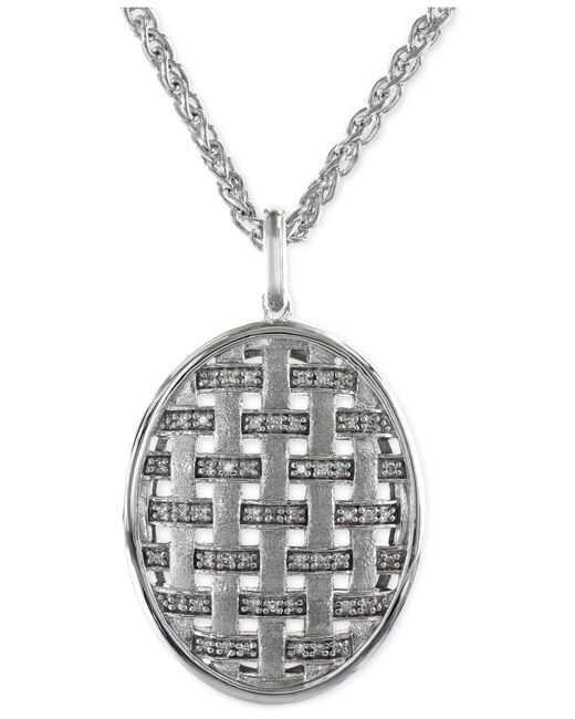 Effy Collection | Metallic Diamond Oval Pendant Necklace In 14k White Gold (1/5 Ct. T.w.) | Lyst