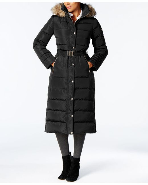 Michael Kors | Black Faux-fur-trimmed Maxi Puffer Coat | Lyst