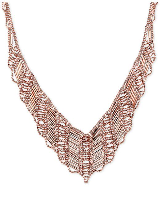 Macy's - Pink V-shape Drape Collar Necklace In 14k Rose Gold - Lyst