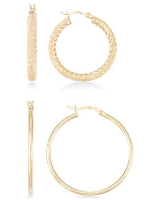 Macy's - Metallic 2-pc. Set Textured And Polished Hoop Earrings In 14k Gold Over Sterling Silver - Lyst