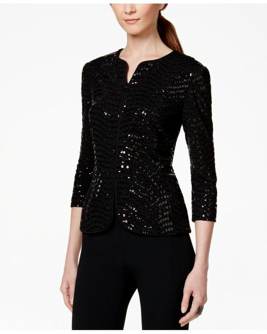 Alex Evenings - Black Sequined Jacket & Top - Lyst