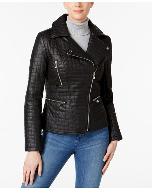 INC International Concepts | Black Quilted Faux-leather Moto Jacket | Lyst