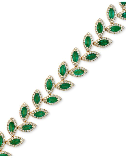 Effy Collection - Green Effy Emerald (10-4/5 Ct. T.w.) And Diamond (2-1/2 Ct. T.w.) Tennis Bracelet In 14k Gold - Lyst