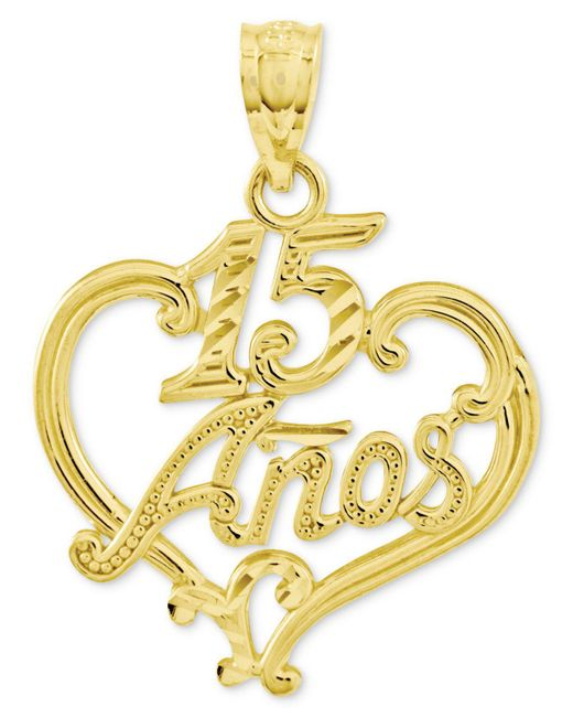 Macy's - Metallic 14k Gold Charm, Diamond-cut 15 Anos Heart Charm - Lyst