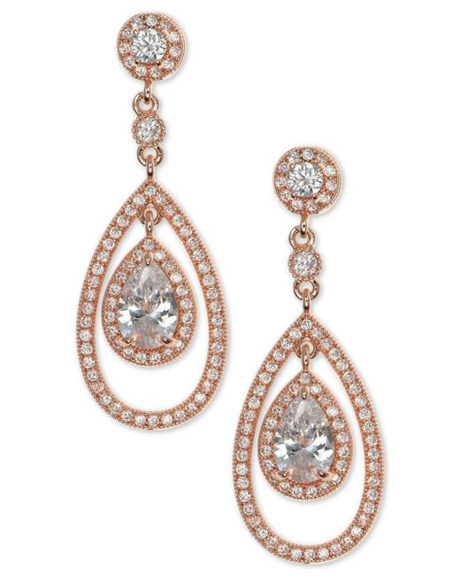 Anne Klein | Metallic Rose Gold-tone Crystal And Pavé Orbital Drop Earrings | Lyst