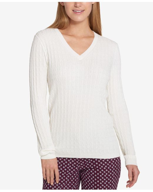 Tommy Hilfiger | White Cable-knit Sweater | Lyst