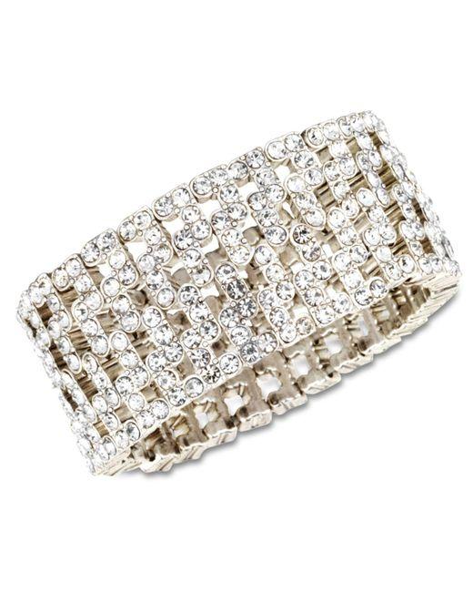 Anne Klein - Metallic Silver-tone Crystal Stretch Cuff Bracelet - Lyst