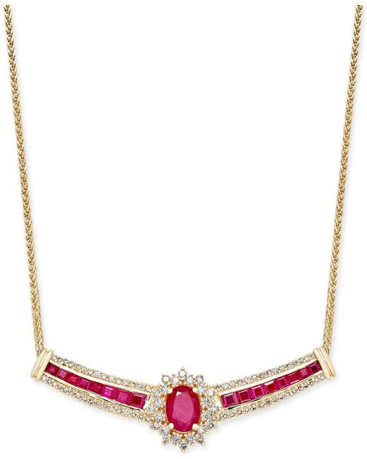 Macy's - Metallic Ruby (3 Ct. T.w.) And Diamond (3/4 Ct. T.w.) Fancy Collar Necklace In 14k Gold - Lyst
